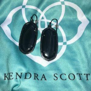 KENDRA SCOTT gunmetal earrings with onyx.